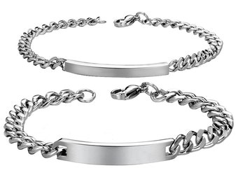 Custom Engraving Stainless Steel His and Hers Matching Set couple bracelets in One Pair