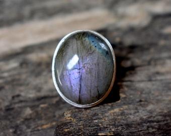 Rare Purple Spectrolite Flashy Labradorite Gemstone 925 Solid sterling silver Ring - Silver Statement Ring - Purple Labradorite ring #738