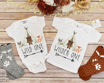 Boho Baby Clothes, Baby Girl Clothes, Baby Boy Clothes, Sibling Shirts, Siblings Outfit, Baby Shower Gift for Twins, Twins Gift, Wild One