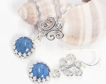 Lapis Lazuli, Dangle Earrings, Gemstone Earrings, Sterling Silver, Blue Earrings, Silver Earrings, Drop Earrings, Gift for Her