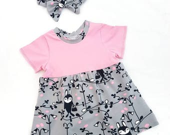 Rabbit dress - baby girl dress - baby dress - t shirt dress - organic baby clothes - bunny print - summer dress - pink and grey dress