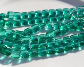 Teal Green Fire Polish Square Czech Glass Beads  12