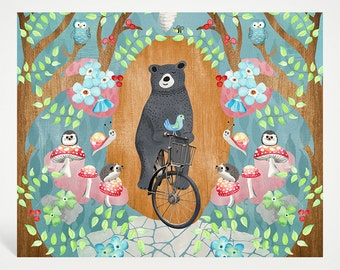 Bicycle Riding Bear Art Print Collage | Studio Carrie Wall Art | 8x10 | Gift