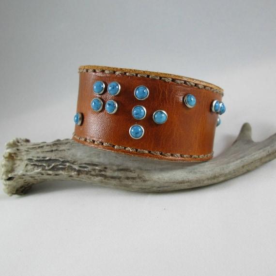 Leather Braille Cuff, Leather Cuff, Leather Bracelet