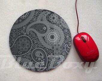 Black Paisley Mousepad, Office Mousepad, Computer Mouse Pad, Fabric Mousepad