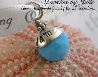 Something Blue Bouquet Charm - Hand stamped, personalized sterling silver bead cap, You choose the blue bead, Perfect Gift for Brides
