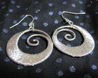 Silver Fibonacci Spiral Earrings