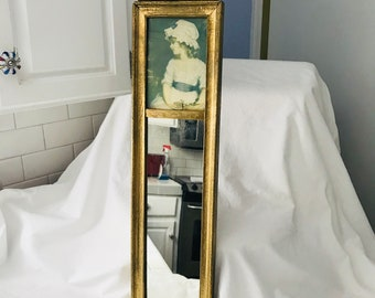 Antique Framed Mirror with Portrait top collectible display wall decor wall art wooden frame farmhouse cottage