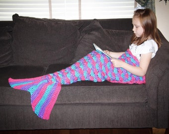 Mermaid Tail Lapghan Blanket Crochet Pattern in ALL SIZES - Instant Download #215