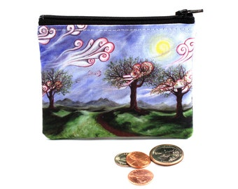 Defiant Beauty - Small Zipper Pouch - Surreal Landscape with Whimsical Trees and Swirling Clouds - Art by Marcia Furman