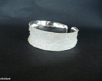 Salmon fish leather cuff, off white bangle bracelet, gift for her, Easter, Valentine, Mother's Day, birthday, girlfriend gift