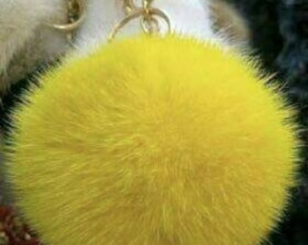 New Excellent Quality Real YELLOW  MINK Fur Pompon keyring!