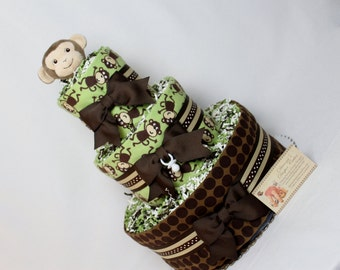 Monkey Baby Diaper Cake Shower Gift Centerpiece Boys Girls Neutral