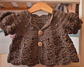 Crochet PATTERN - Puff Sleeve Shrug - Cardigan (sizes baby up to 8 years)