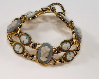 Vintage 1970's Cameo Gold Tone Bracelet with Large and Small Blue Cameo Women's Faces, Blue and White Cameos on Linked Bracelet from 1970's