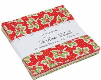 """AVAILABLE, CHRISTMAS FIGS Charm Pack, 42-5"""" Precut Squares by Fig tree Quilts of Moda. Available thru Sample Spree"""