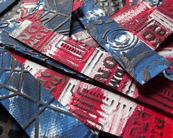 Mosaic embossed collage Paper strips / altered art  supplies / distressed / craft / mini paper tiles / mixed media / assemblage supply