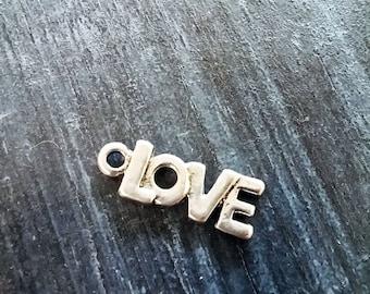 "Word Charm Love Charm Love Pendant Antiqued Silver Word Pendant Love Word Silver Charm 1 piece 22mm/0.87"""