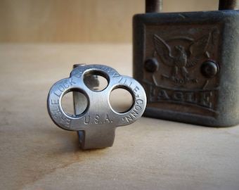 Antique Key made into a RING! - Eagle Tri - Size 8.5 - Jewelry - Vintage - Padlock Key Ring - Powder Coated