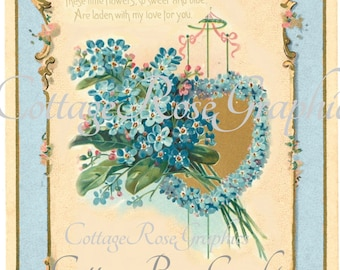 Vintage Forget Me Not hearts image ADD your own text Blue Large digital download BUY 3 get one FREE