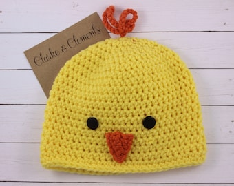 Easter Hat, Duck Hat, READY TO SHIP, Crochet Duck Beanie, Baby Beanie, Baby Hat, Baby Shower Gift, Photo Prop for Babies, Handmade Crochet