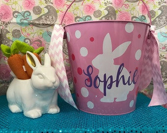Easter Basket, Easter bucket, Easter Metal Pail 5qts Personalized