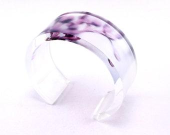 Purple Bold Blossom Bangle 6x30 Acrylic Cuff, Perspex Jewelry