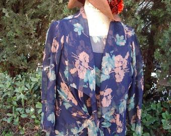 "Original Model ""A"" Era 1928-1931 Print Chiffon Dress/Jacket Large Size Item #235 Vintage Dresses"