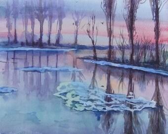 Original Art Painting Watercolor Landscape Home Decor  Winter River Landscape Watercolor paintings Wall Decor Art Painting Watercolor