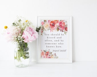 Watercolour Floral Romantic Gone With The Wind Quote Print A4 A5