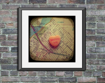 Map art print - marry me Astoria Queens New York City - candy heart custom engagement wedding anniversary gift wall decor