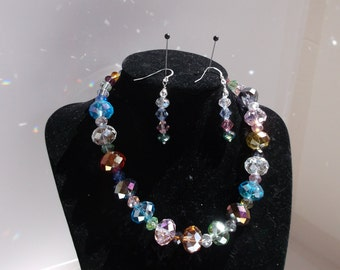 Sparkly Glass Rondelle and Bicone Necklace and Earrings