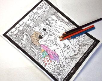Dog Art/Dog Drawing/Pug Drawing/Pug Puppy/Coloring Page/Pet Portrait/Fur Babies/Digital Download/Black & White Drawing