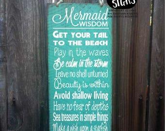mermaid sign, mermaid decor, advice from a mermaid sign, mermaid decoration, mermaid wall decor, mermaid widsom, 69