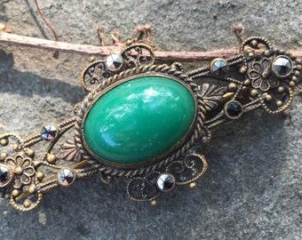 Green Czech Bar Pin -- 292