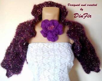 LIQUIDATION Stock 30% OFF Mohair Shrug Bolero Wedding Accessories Jacket Cardigan Hand Knitted Feminine Women Elegant Crochet Capelet Purple