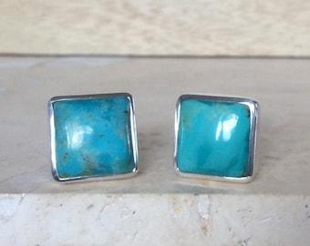 Silver Cufflinks, Mens' Gemstone Silver Cufflinks, Turquoise Silver Cufflinks, Gift For Him, Mens' and Best Man Gifts