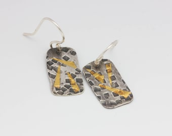 Silver & Gold, Mixed Metal Drops, Keum Boo Earrings, 24k and Silver, Boho Chic Earrings, Le Chien Noir, Gift for Her