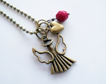 Angel Charm Necklace - Guardian Angel Jewelry - Angel Wing Pendant - You Choose Bead And Charm - Custom - Ball Chain - Everyday Jewelry
