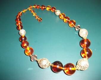 Vintage Amber Glass & Gold Beaded Necklace