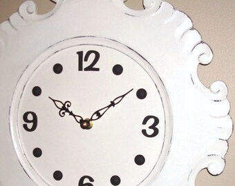 Black and Cream Wall Clock Large Wall Clock Cottage Chic Distressed Unique Wood Wall Clock Wall Decor - 2331