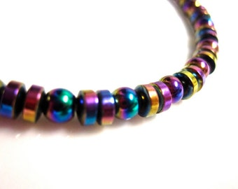 Magnetic Hematite Bracelet - Colorful Rainbow Bracelet