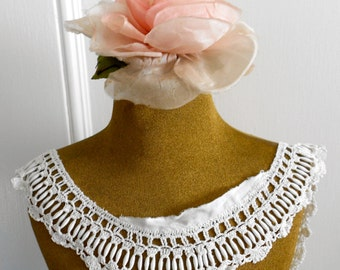 Victorian White Satin Stitched Trim