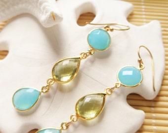 Blue Chalcedony and lemon quartz bezel vermeil gold drop earrings
