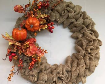 Fall, Burlap, Circle, Pumpkin, Round, Multiple Sizes, Wreath