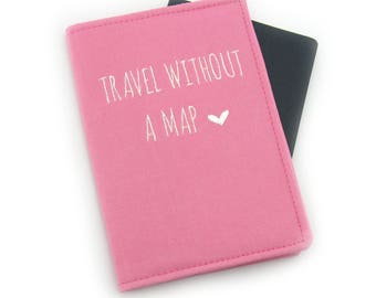 Travel without a Map Embroidered Passport Cover, Passport Holder, Passport Wallet, Passport Case, Fun Travel Gift