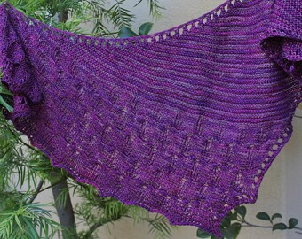 Purple Tulip Cabled Shawlette or Scarf