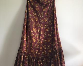 Vintage Brown Plum Boho Bohemian Praire Maxi Skirt by Laura Ashley Cotton Ruffle