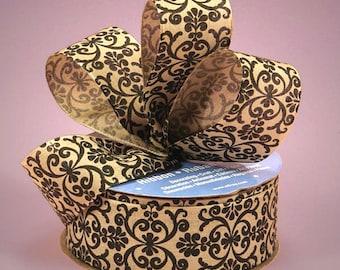 "5YDS x 1-1/2"" Black & Tan DAMASK Floral Scroll Print Fabric Ribbon"