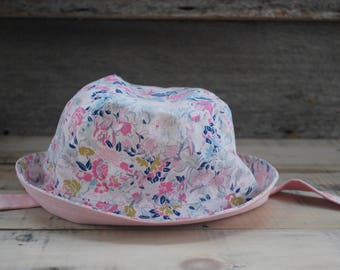 Surf's Up! Bucket Hat, reversible bucket hat, sun hat, pink hat, baby girl sunhat, toddler hat, girls hat, toddler or child sunhat, floral